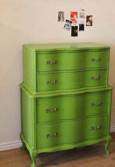 I'm spray painting my daughters dresser this week.  Hopefully it'll come out as well as this one :D