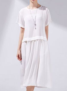 Pure Color Pleated Loose Dress