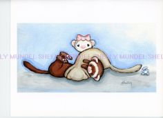 Art by Shelly Mundel. Ferret People Collection  ( 2012 Wrestling Ferrets )