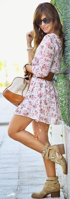 White Multi Floral Chiffon Tunic Little Dress