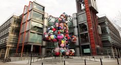 Art installation 'Shelter', a giant number 4 made from discarded umbrellas by artist Stephanie Imbeau