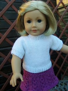 Ravelry: American Girl Doll Plain White Knitted T-Shirt Free Pattern pattern by Jacqueline Gibb. You will need to register with Ravelry to download this pattern.