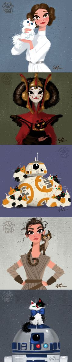 Star Wars and cats. Artist From Walt Disney Animation Studio Draws Star Wars Characters With Cats (by grizandnorm) Star Wars Love, Star War 3, Star Wars Art, Star Wars Personajes, Images Star Wars, Harry Potter, Fangirl, Walt Disney Animation Studios, Bd Comics