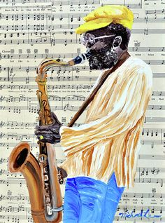 Sax Man with a Yellow Hat Michael Lee, artist Fine Art America
