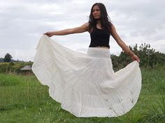 Boho Skirt ..Long Skirt ....Full Length Skirt .. Color by Ablaa, $32.00