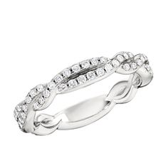 Twisted Diamond Wedding Band  14K white gold twisted diamond wedding band designed and created by Reis-Nichols Jewelers. The band features 66 round brilliant cut diamonds weighing nearly 1/2 ctw. Size 6.5 in stock now. Special order sizes also available.