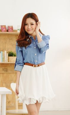 Puff Sleeves Shirt Neck Refreshing Style Faux Pearl Denim Dress