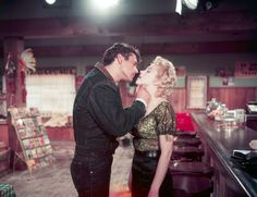 Marilyn Monroe and Don Murray on the set of Bus Stop, 1956.