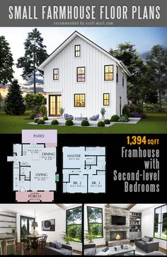 Small farmhouse plans for building a home of your dreams - Craft-Mart The best simple farmhouse plans - Cozy Two-story Farmhouse with Second-level Bedrooms and modern farmhouse open floor plan Simple Farmhouse Plans, Farmhouse Floor Plans, Modern Farmhouse Exterior, Farmhouse Design, Vintage Farmhouse, Simple Home Plans, Simple Floor Plans, Farmhouse Style, House Plans One Story