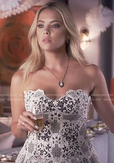 Hanna's white strapless lace dress on Pretty Little Liars.  Outfit Details: https://wornontv.net/56281/ #PLL
