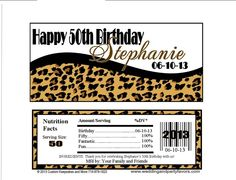 Birthday Candy Wrappers Leopard and black accents BDAY 6633 WP