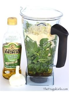 Easy Basil Pesto Recipe! ~ from TheFrugalGirls.com ~ just a few ingredients and you've got yourself a DELICIOUS healthy Pesto - perfect for Pasta, Bread, Sandwiches, etc! #recipes #thefrugalgirls