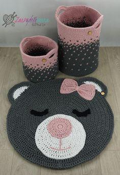 Crochet sets for baby room rug round bear basket for child Bag Crochet, Crochet Teddy, Crochet Home, Crochet Rugs, Baby Room Rugs, Bear Rug, Knot Pillow, Crochet Carpet, Baby Pillows