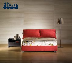 """""""Design is also looking at everyday items with a curious eye"""" [Double bed / Letto matrimoniale """"Nathalie"""" by Vico Magistretti for Flou] #Beds #Bedroom #Letto #InteriorDesign #HomeDecor #Design #Arredamento #Furnishings #red"""