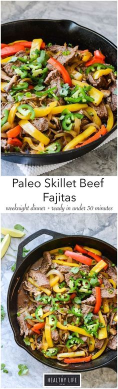 Paleo Skillet Beef Fajitas is a one pot dinner dynamo, with flavors of sautéed peppers, onions, mushrooms and perfectly seasoned and seared steak.  Ready in under 30 minutes makes this paleo, gluten-free, dairy free and whole30 friendly recipe the perfect healthy weeknight dinner for the whole family.- A Healthy Life For Me