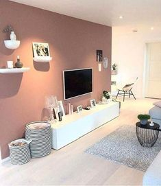 Diese Wandfarbe Diese Wandfarbe The post Diese Wandfarbe appeared first on Wandgestaltung ideen. Living Room Tv, Apartment Living, Home And Living, Living Room Accent Wall, Small Living Room Storage, Living Room Cabinets, Modern Living, Bedroom Colors, Bedroom Decor