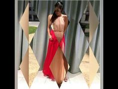 Red Halter Split Chiffon Long Prom Dress, Floor Length Sleeveless Long Evening Dresses, Unique Party Dress With Scarf, Prom Dresses For Teens, Elegant Prom Dresses, Prom Dresses 2017, Backless Prom Dresses, A Line Prom Dresses, Beautiful Prom Dresses, Prom Gowns, Cheap Prom Dresses, Prom Party Dresses