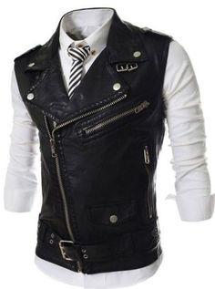88772dbab0d7 Men s Fashion Sleeveless Leather Zipper Accent Vest M-2XL 3 Colors