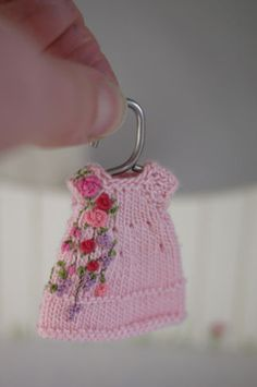 Lilacs & Roses- a teeny tiny knitted and hand embroidered dress for Tonner's Amelia Thimble.