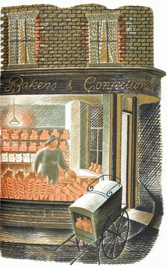 Bakers // by Eric Ravilious (1903 – 1942) was an English painter, designer, book illustrator and wood engraver.