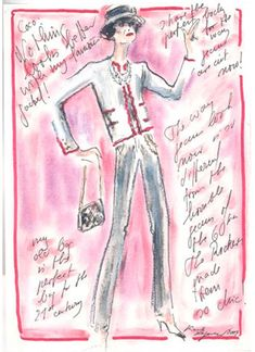 Karl Lagerfeld's Sketch of Coco Chanel -- Did you know Karl Lagerfeld prefers using makeup pencils to draw with rather than regular drawing pencils? True story. :-)