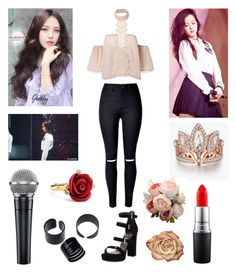 """Blackpink Jisoo Boombayah Inspired Outfit"" by aurejuanbaston ❤ liked on Polyvore featuring Stuart Weitzman, Disney, MAC Cosmetics, kitsch holiday and Oscar de la Renta"