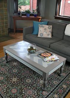 Could paint BB's old Ikea coffee table similar to this. Chevron Coffee Tables, Coffee Table Redo, Old Coffee Tables, Decorating Coffee Tables, Upcycled Furniture, Painted Furniture, Diy Furniture, Chevron Furniture, Diy Crafts For Home Decor