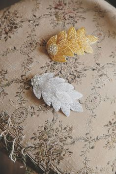 A Glamourous Botanical styled Shoot | Bespoke-Bride: Wedding Blog - silver and gold leaf bridal hair combs by Debbie Carlisle, available from www.rubyanddiva.com