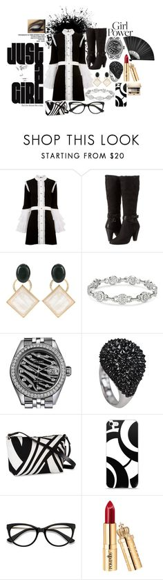 """Lookin Fly in black n white"" by jayme-becker ❤ liked on Polyvore featuring macgraw, ECCO, Marni, Rolex, Marimekko, EyeBuyDirect.com and Clarins"