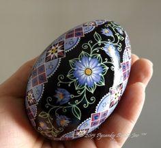 Periwinkle Blue Floral Pysanka Ukrainian Easter Egg Pysanky by SoJeo Batik Art EBSQ Plus by PysankyBySoJeo on Etsy https://www.etsy.com/listing/220075090/periwinkle-blue-floral-pysanka-ukrainian