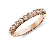 Milgrained Diamond Ring in 14k Rose Gold