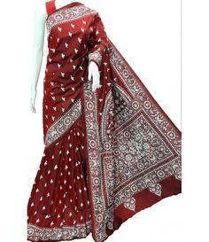 e40df805fb625 Red Silk Kantha Saree Kantha Stitch