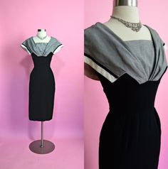 HELEN WHITING INC 1950's Vintage Black and by RubyFayesVintage