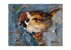 A4 Fine Art Giclee Print  Sparrow Bird on Bright Blue