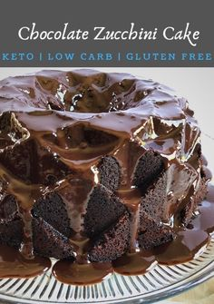 Description This Low Carb/Keto CHOCOLATE ZUCCHINI CAKE is so moist and decadent! This cake is the perfect way to use up that zucchini and its very easy to make it! What better way to use up all of that zucchini than in a delicious low… Chocolate Bundt Cake, Low Carb Chocolate, Gluten Free Chocolate, Flourless Chocolate, Chocolate Brownies, Low Carb Cupcakes, Low Carb Desserts, Zucchini Cake, Keto Cake