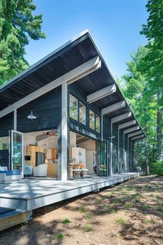 Tomahawk Lake Residence on Behance Container House Design, Small House Design, Modern House Design, Container Homes, Shed House Plans, Small House Plans, Cabin Plans, Shed Homes, Cabin Homes