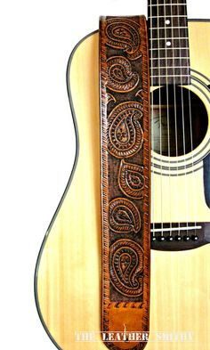 Paisley Leather Guitar Strap #HandTooledLeather #WesternStyle #Rustic #ArtinLeather #TheLeatherSmithy