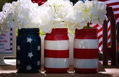 American Flag Mason Jar Set - Veterans day- patriotic centerpieces - F – AlwaysTheOccasion