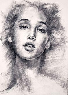 Купить Вижу - серый, портрет, портрет на заказ, портрет по фото, подарок девушке, искусство, рисунок