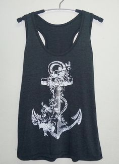 Retro Anchor tank top/ Cool tank tops size S/M/L/XL beach tank/ women singlet/ shirt/ sleeveless/ tops/ tank tops