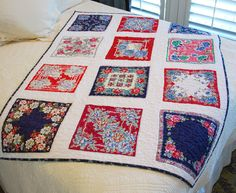 Lake and Garden: Red and Blue Vintage Hankie Quilt