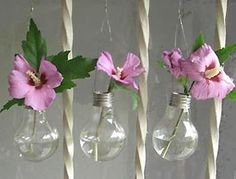 Lightbulb vases! Clever!
