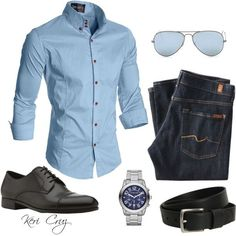 *star trek buttons lol fitted blue oxford. jeans. black belt/brogues. watch. shades. simple. classic. clean. easy. style.