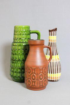 Vintage Mid Century Handled Vase by SAWA 348/20 West German Pottery WGP Modernist Vase Retro by Vinteology on Etsy