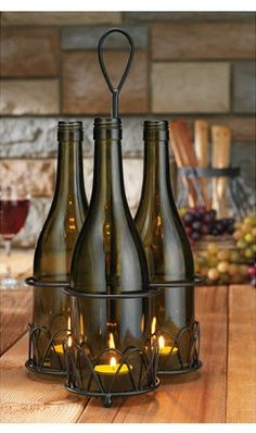 Wine Bottle Votive Set with Caddy. Just bought this set @Melissa Lindenbaum... Candle & Co - looks gorgeous on our porch at night spending time with my love...   ~JK
