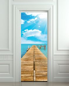 "Door STICKER sea pier beach travel mural decole film self-adhesive poster 30""x79""(77x200 cm)"