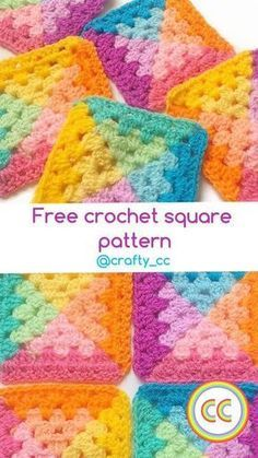 Transcendent Crochet a Solid Granny Square Ideas. Inconceivable Crochet a Solid Granny Square Ideas. Free Crochet Square, Crochet Square Patterns, Crochet Blocks, Crochet Stitches Patterns, Crochet Squares, Crochet Motif, Afghan Crochet, Crochet Flowers, Pixel Crochet Blanket