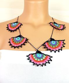 Crochet Efe Oyasi Necklace Handmade Lace by NinnisGift on Etsy, $23.00
