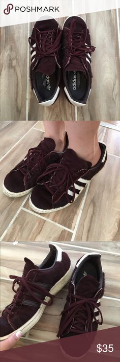 Adidas 80s campus pony hair shoes sneakers Size (mens): 6 1/2 for women us size 8 color;: burgundy condition: good Adidas Shoes Sneakers
