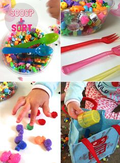 scoop and sort bead activity for toddlers